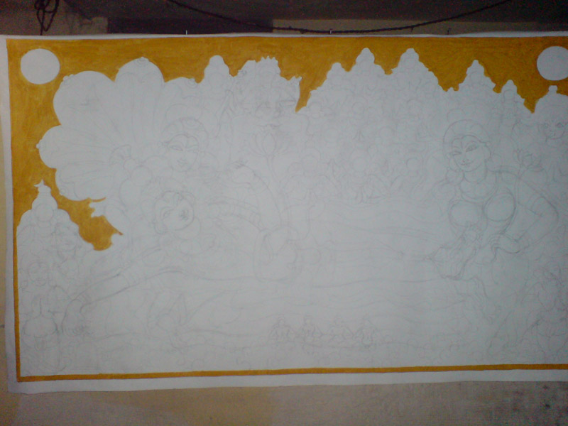 The Making of a Mural: Anantasayanam - Starting with yellow