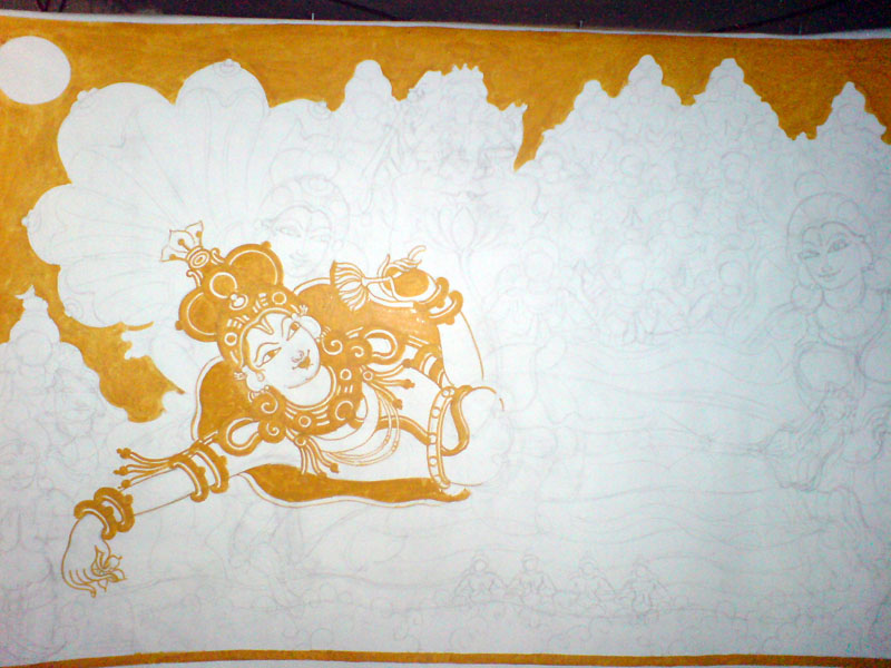 The Making of a Mural: Anantasayanam - Yellow central character