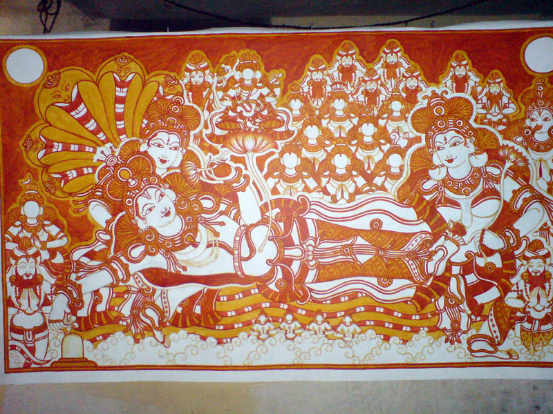 The Making of a Mural: Anantasayanam - the supporting cast get their share of red