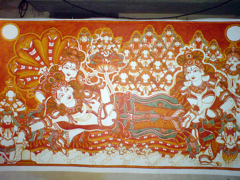 The Making of a Mural: Anantasayanam - After red, its time for the other colors starting with green