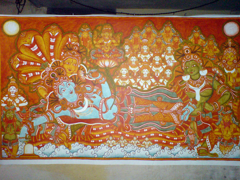 The Making of a Mural: Anantasayanam - After green comes blue..