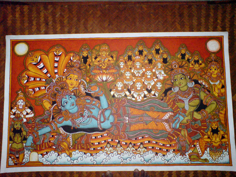 The Making of a Mural: Anantasayanam - Vishnu in all his glory, worthy of adoration!