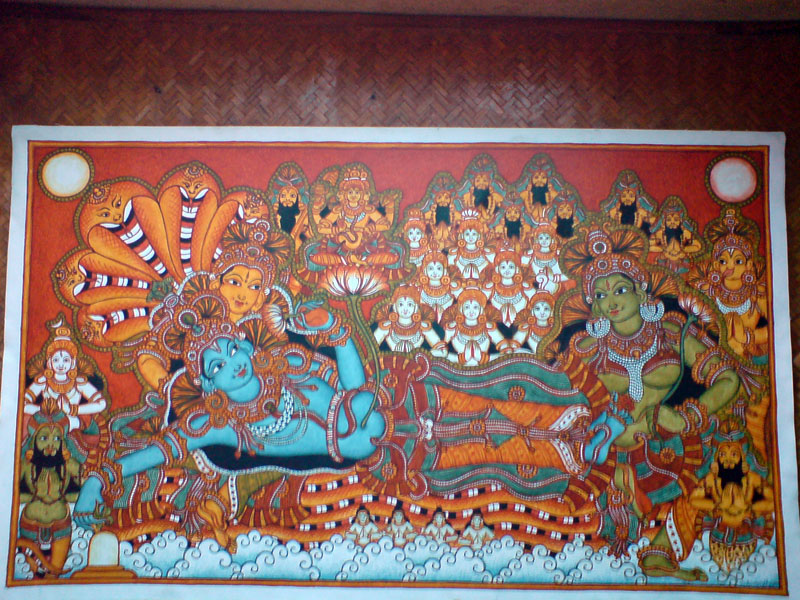 The Making of a Mural: Anantasayanam - outlines almost done, image almost complete!