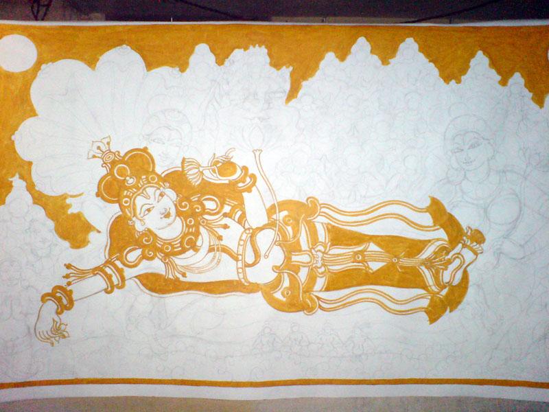The Making of a Mural: Anantasayanam - Vishnu emerges, in yellow!