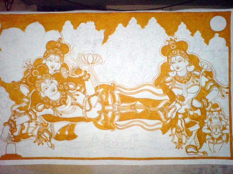 The Making of a Mural: Anantasayanam - Vishnu, Lakshmi, Bhoomidevi, still yellow