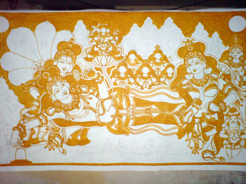 The Making of a Mural: Anantasayanam - Yellow continues, the supporting characters emerge