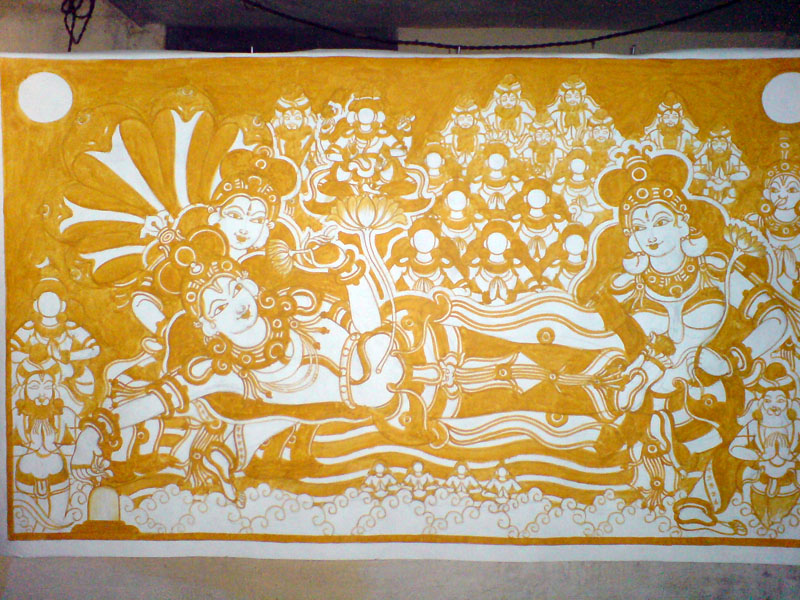 The Making of a Mural: Anantasayanam - Yellow complete, finally!