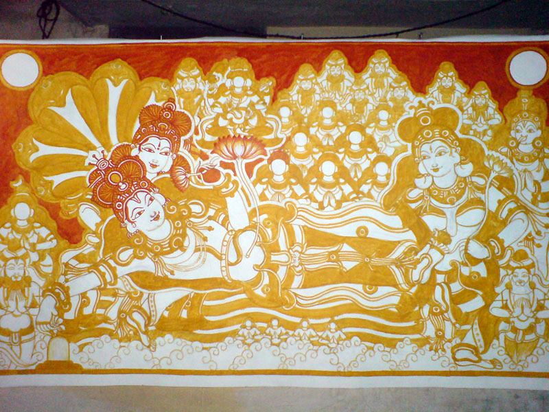 The Making of a Mural: Anantasayanam - After the yellow, its time for red.