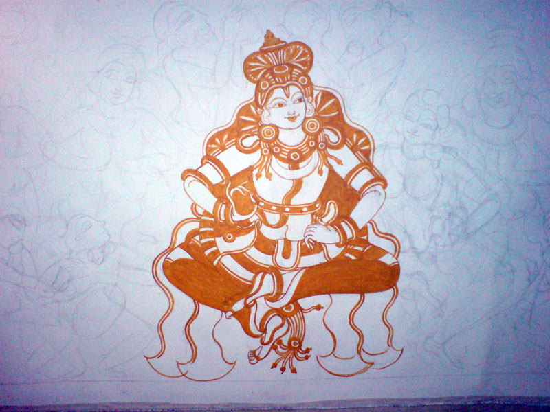 Shri Ramachandra Pattaabhishekham - Shri Rama stands out from the sketch in the first color to be added, yellow!