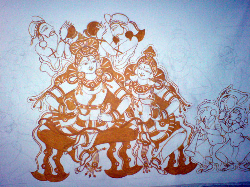 Shri Ramachandra Pattaabhishekham - Yellow, after Rama its time for Sita