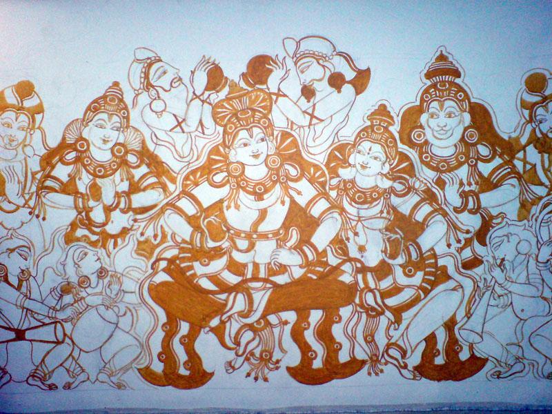 Shri Ramachandra Pattaabhishekham - Yellow continues, the image begins to take form...