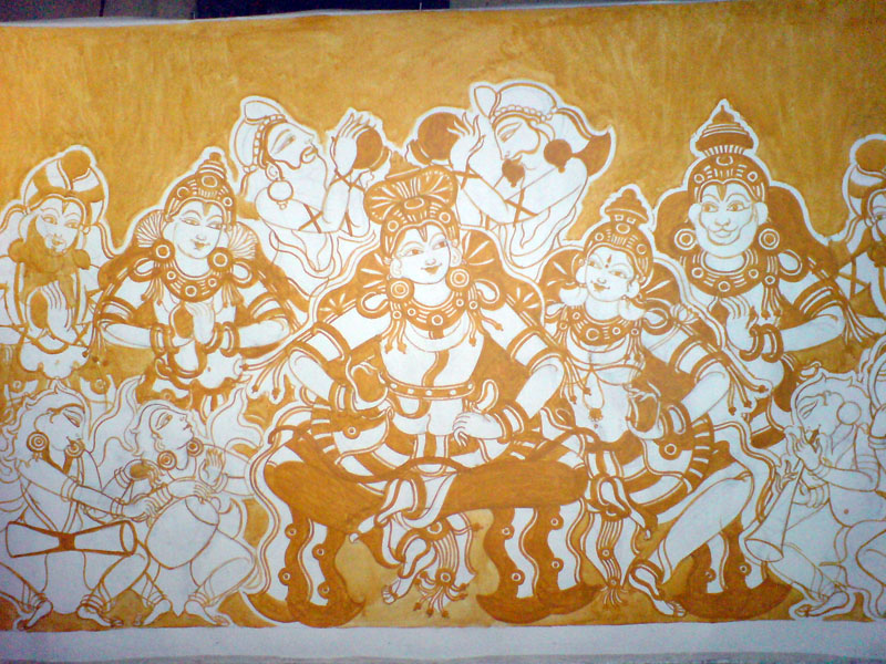 Shri Ramachandra Pattaabhishekham - Yellow fill for the background, time to be very careful..