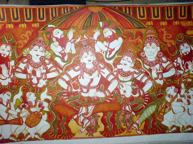 Shri Ramachandra Pattaabhishekham - Red is done, green now makes its appearance...