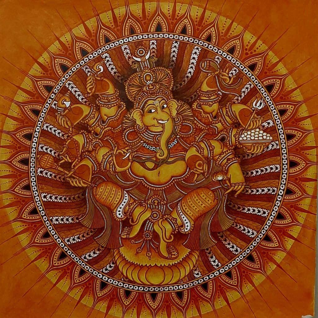 Mural Paintings of Kerala – The Wonderful World Of Kerala Mural Paintings  and the work of Naveen P B, an outstanding exponent.