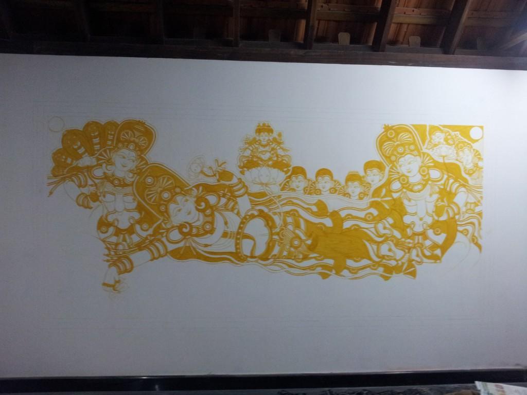 Anantasayanam mural in natural colors - Work in progress.