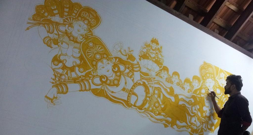 Anantasayanam mural in natural colors - Work inprogress.