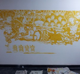 Anantasayanam mural in natural colors - Work inprogress.